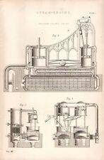 1868 PRINT STEAM ENGINE ERICCSON'S CALORIC SECTIONAL