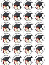 24 x graduazione CIALDE di riso COMPLEANNO DECORAZIONI PER TORTA