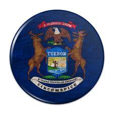 Rustic Michigan State Flag Distressed USA Pinback Button Pin Badge