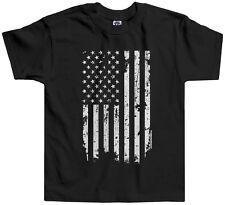 Threadrock Kids Distressed White American Flag Toddler T-shirt USA Pride