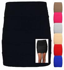 Ladies Ribbed Panel STRETCH Bandage Style Zip Back Bodycon Mini Skirt Size 8-14