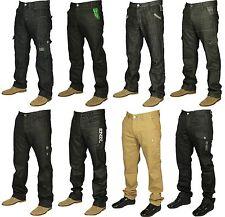 MENS NEW ENZO JEANS IN BLACK BEIGE GREY DESIGNER PANTS STRAIGHT FIT RRP £39.99