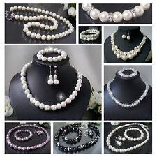 Halskette Collier Perlen Schmuckset Ohrringe Armbänder Damen Schmuck Braut VS8#