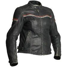 Halvarssons Eagle Ladies Jacket Faded Black Leather Motorcycle Jacket New