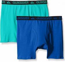 Quiksilver Boys Blue & Teal 2pk Solid Boxer Briefs Size 4/5 6/7 $18