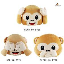 Emoji Emoticon Hear No Evil/Speak No Evil/See No Evil Monkey Cushion Soft Toy