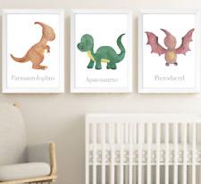 Dinosaurs Nursery Decor Print Set of 3, Dinosaur Baby Children Bedroom Pictures