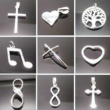 925 Sterling Silver Pendant Cross Love Heart Music Sun Infinity Tree Gift Bag UK
