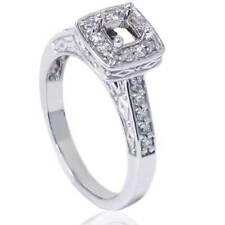 1/4ct Vintage Semi Mount Engagement Ring 14K White Gold
