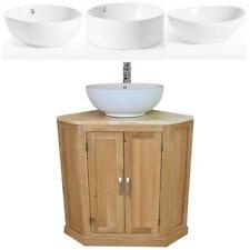 Bathroom Vanity Unit Oak Corner Wash Stand Onyx & Ceramic Basin 501