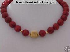 Korallen Kette Halskette Collier rot Damen echt 925 Silber Gold Würfel schöne
