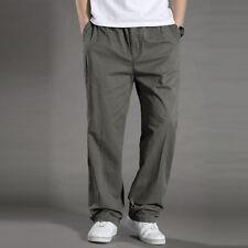 Men Cotton Loose Trousers Sport Pants Casual Thin Elastic Waist Straight Leg HOT