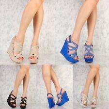 Women's Shimmer Rhinestone Accent Platform Gladiator Wedges Open toe Sandal Size
