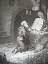 "GRAVURE 1860 "" L' Ermite en pière "" Gérard Dow 370x260"