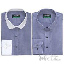 Uomo Colletto Penny blu tessuto a quadretti BANCHIERE Camicia di cotone rotondo