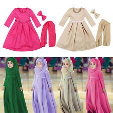 Muslim Kids Girls Dress Abaya Kaftan Long Sleeve Dress+Hijab+Bow Fall Arab Maxi