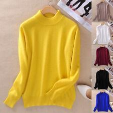 Women's Slim Knitted Half-Turtleneck Cashmere wool Jumper Pullover Soft Sweater
