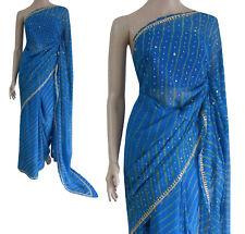 Partito Wear Bollywood Tradizionale Seta Turchese Giallo Leheriya Bandhani Saree