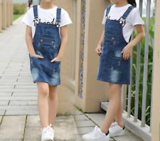 Girls Denim Dress Summer Dresses Blue Jeans Sleeveless clothes Age 2-15 years
