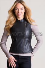 Womens Lambskin Real Leather Vest Motorcycle Slim fit Genuine Biker Vest