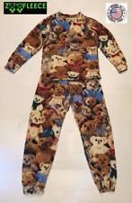 ZooFleece Teddy Bears Boys Girls Kids Pajama PJ Sweatsuit Nightgown Brown Fleece