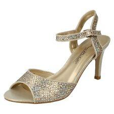 Anne Michelle F1R0467 Ladies Lt. Gold Slingback Heeled Sandals w/Glitter(R17A)JK