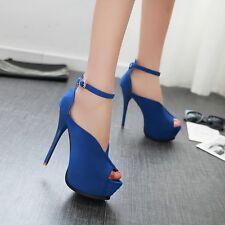 Sandali donna Plateau blu eleganti stiletto tacco 13.5 cm Plateau 5 cm 9302