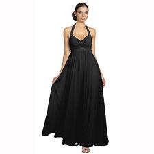 Beaded Halter Neck Full Length Formal Evening Gown Bridesmaid Dress Black