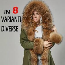 Parka Donna Piumino Vera Pelliccia Procione Invernale Cappotto Lungo Real Fur