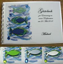 Gästebuch A5, blau, grün, Fische, Glitzersteine, Konfirmation Kommunion Taufe
