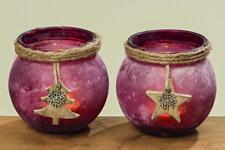 Windlicht Marta Glas Marsala gefrostet Teelicht Weihnachten versch. Motive