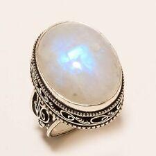 Huge Moonstone Gemstone Ring 925 Silver Vintage Anniversary Women's Jewelry Gift
