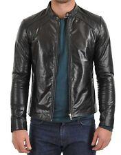 New Black Men Lambskin Motorcycle Genuine Leather Jacket Size XS M L XL XXL 907
