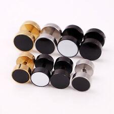 1piece Men Women 316L 8mm Ear Taper Round Stretcher Look Studs Piercing Earrings