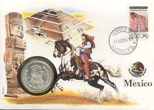 superbe enveloppe MEXIQUE MEXICO pièce monnaie silver