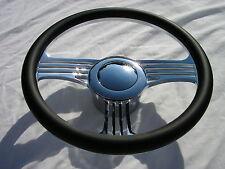 "14"" Chrome Billet Leather Banjo Slash Steering Wheel Adapter & Horn Button"