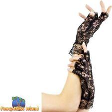 Fingerless Lace Burlesque Gloves Womens Ladies Fancy Dress Accessory