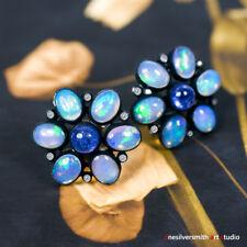 Jellyfish Opal Earrings W/ Diamonds & Tanzanite - 14k White Gold Hook Leverback