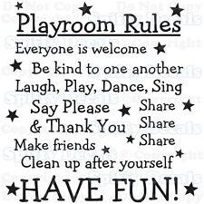 PLAYROOM RULES NURSERY SCHOOL SHARE FUN Quote Vinyl Wall Decal Decor Sticker