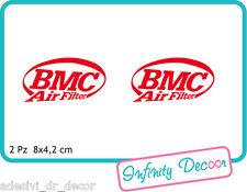 "2 Adesivi ""BMC"" 8x4,2 cm sponsor tecnici moto honda suzuki kawasaki ducati"