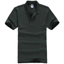 Mens Short Sleeve Polo Shirt Plain Top Designer Style Fit T-Shirt Dark Green