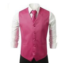 NEW Mens Fucshia Dress Vest and Neck Tie Set, All sizes(S~3XL)