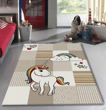Childrens Animal Rug Beige Cream Kids Unicorn Mats Baby Nursery Playroom Carpet