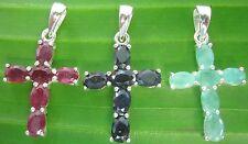 REAL925 sterling silver REAL STONE Ruby-Sapphire-Emerald Cross Pendant MEN WOMEN