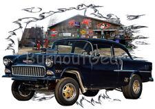 1955 Black Chevy Sedan Gasser Custom Hot Rod Garage T-Shirt 55 Muscle Car Tee's