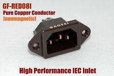 1x hifi Red copper GF IEC AC Inlet Power Socket Audio Grade Non Solder