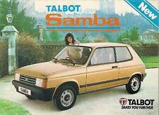 Talbot Samba 1982 UK Market Launch Foldout Sales Brochure GLS GL LS LE