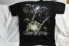 SKELETON SKULL MOTORCYCLE MOON RIDE TILL I DIE T-SHIRT