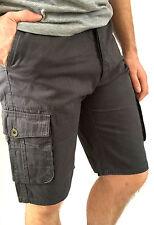 Mens Trespass Walk Cargo Shorts Chino Grey Flint Adjustable Waist Sale XXS - XXL