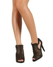 New Women Qupid Liya-11 Nubuck Caged Peep Toe hook and loop Stiletto Ankle Booti